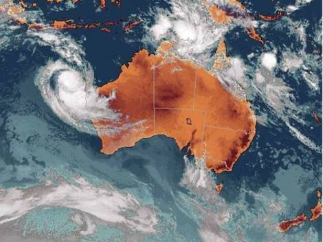 Cyclone Oswald heads across the Gulf of Carpentaria.  Image courtesy AAP