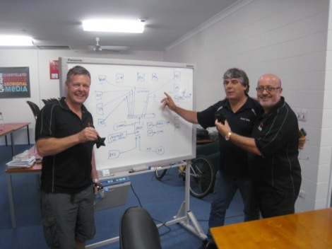 Gerry Pyne shows Michael (left) and G man (right) the road map of Black Star