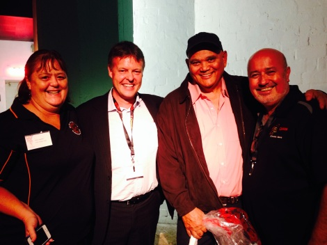Alliance Partners,  L/R Robin Regattieri,TEABBA, Michael Robinson, CEO CAAMA, Jim Remedio QRAM manager, Gerry Lyons, CAAMA Radio Manager
