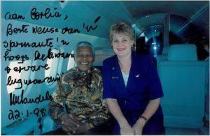 Nelson Mandela with Flight attendant, Corlia Henn