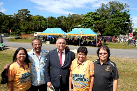Gurriny CEO Susan Andrews, Reverend Les Beard, Yarrabah Mayor Errol Neal, Professor Graclyn Smallwood, Gurriny Chairperson Sandra Haughton