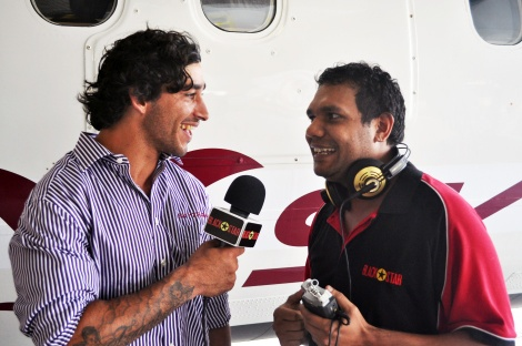 Cowboys star Jonathan Thurston and Black Star's Gilmore Johnston at today's re-launch of Sky Trans.