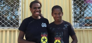 Bamaga kids with BS brochures